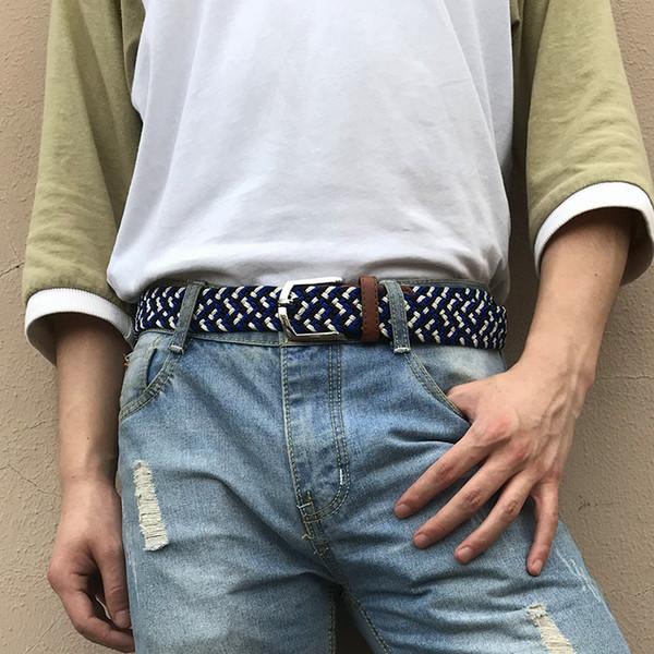 elastische Gurte Leinwand weben Stricknbügelmann Frauen Schnalle Jeans lässig Webgurt für Frauen Männer Legierung Hosen Leder tails Gurt