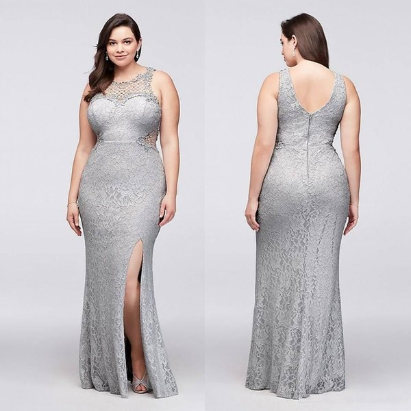 Elegant Silver Jewel Mermaid Plus Size Mother Of The Bride Dresses 2019  Full Lace Split V Back Long Arabic Prom Party Evening Gowns Mother Wedding  ...