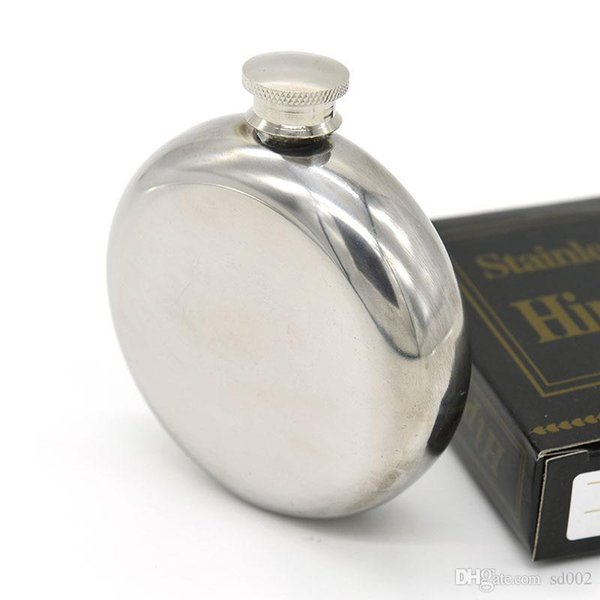 Stainless Steel Round Flagon Mirror Smooth Wine Pot Portable Mens Small Eco Friendly Hip Flasks Reusable Flexible Strong Sealing 8yj jj