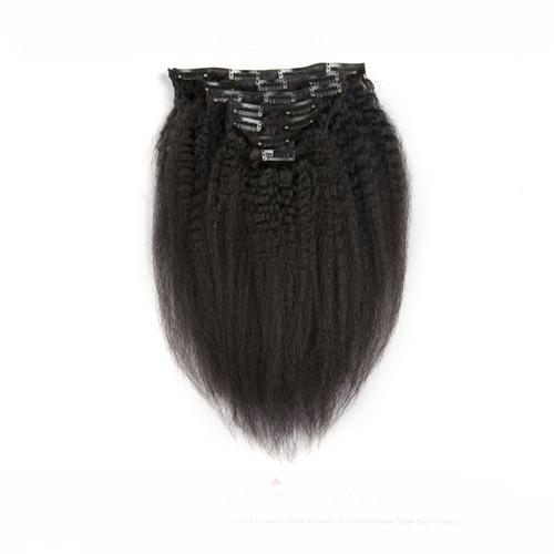 Clip In Human Hair Extension 8 Pieces And 120g/Set Natural Color Coarse Yaki Kinky straight clip in hair extensions
