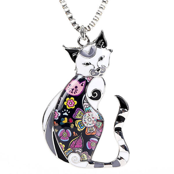 Enamel Printed Cat Box Chain Necklace for Women Teens Cat Lovers Pendants Jewelry Great Gifts Can be Used as Car Keychain