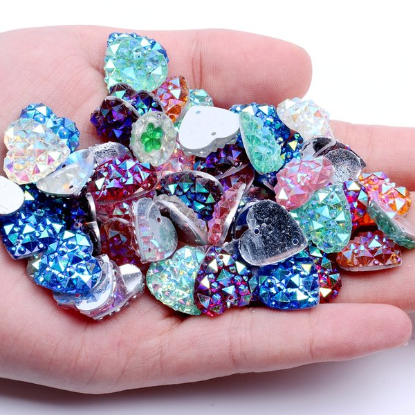 14mm 40pcs Heart Shape AB Colors Flatback Resin Rhinestones Gems With 2 Holes Sew On DIY Scrapbooking Craft Jewelry Decoration