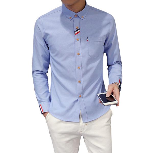 Yeni Moda Erkekler Gömlek Uzun Kollu Eğilim Slim Fit Erkek Kore versiyonu Moda Rahat Düz Renk oxford Elbise Gömlek