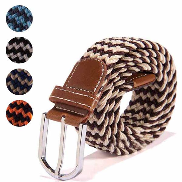 Fashion Men Elastic Stretch Waist Belt Braided Woven PU Leather Belt Cinturones Hombre Ceinture Homme