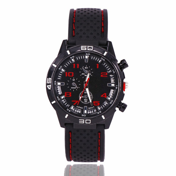 2018 Hot Men's Fashion Casual Sports Watch Car Strap Silicone Watch Relogies for men relojes Best Gift All Subdials Work Wholesale Free Ship