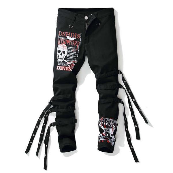 Skull print graffiti painted Jeans Men Fear of God Biker Denim Trousers Mens Hip Hop Ripped Jeans rock street wear 3D Printed Jeans