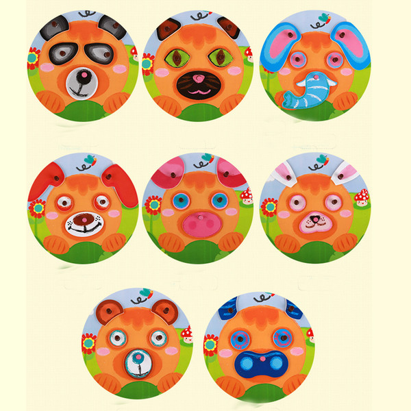best selling Multifunctional Wooden 3D Puzzle Toy Cute Cartoon Fun Animal Elephant Dog Bear Changing Face Jigsaw Baby Kids Educational Puzzle