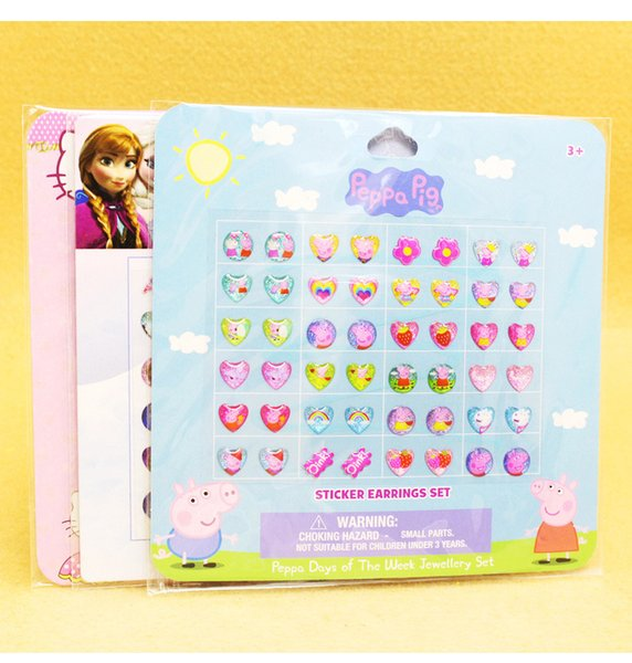 best selling 24 pairs of stick on Earrings Cartoon Fashion Children stickers Kids party gifts Girls Princess stick on Earrings 6 style C3974