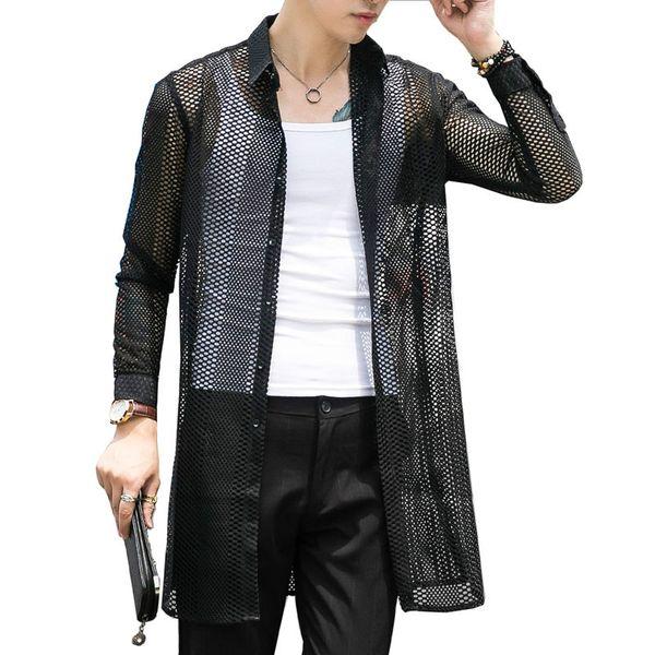 Men Fashion Casual Hollow Mesh Long Sleeve Shirts Male Long Translucent Cardigan Black White Shirt Jacket Stage Clothes
