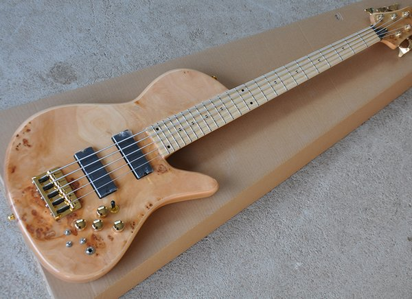 Wholesale 5 Strings ASH Electric Bass Guitar with Maple Fretboard,Neck-Thru-Body,Tree-burl Veneer,offering customized services