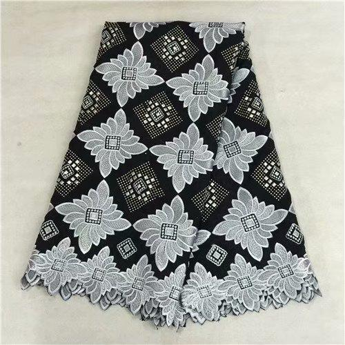 TPY1066 Free shipping (5yards/pc) soft African cotton lace fabric in Black and white embroidery fancy Swiss voile lace for dress