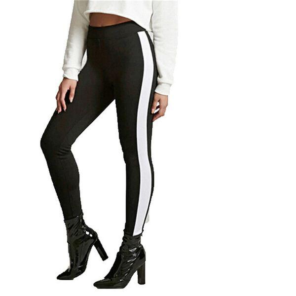 Motif Leggings Femmes Imprimé Pantalon Nouvelle Arrivée Sporting Mince Noir Pantalon avec Blanc Stripe Fitness Leggings Haute Qualité