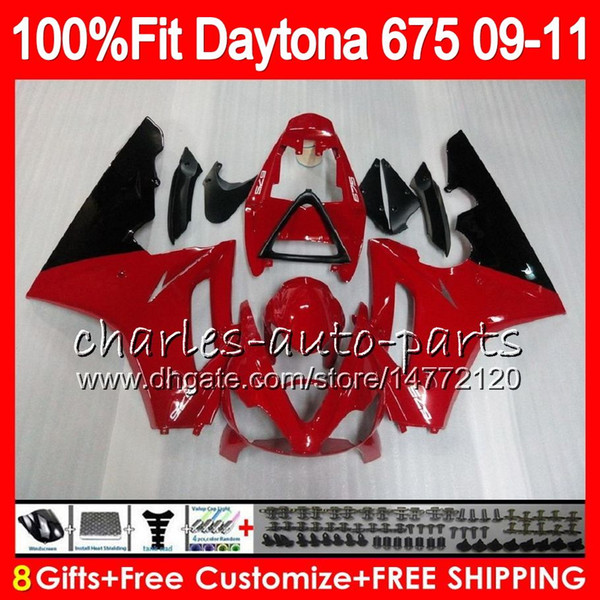 Injection Gloss red blk For Triumph Daytona 675 09 10 11 12 Bodywork 107HM.11 Daytona-675 Daytona675 Daytona 675 2009 2010 2011 2012 Fairing