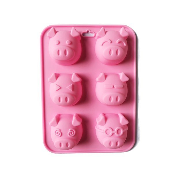 6 pezzi Pighead Silicone torta stampo torta di riso modello di torte al vapore stampi a mano modelli di sapone morbido 5 5xg gg