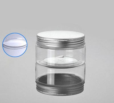 100G transparent PET cream jars with aluminum lid ,clear plastic 100 g cosmetic container, wholesale clear Cosmetic Jar 100g