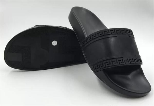 V009versace 2018 High Quality Mens Designer Slippers Brand Mystic Medusa Slide Sandals Men 'S Beach Shoes Rubber Platform Slippers Luxury