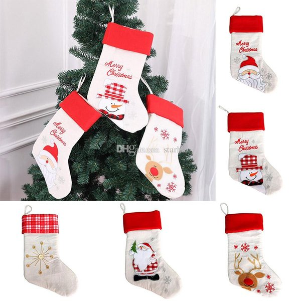 2543cm christmas stocking gift bags burlap embroidery christmas tree sock xmas candy storage bag - Burlap Christmas Decorations For Sale