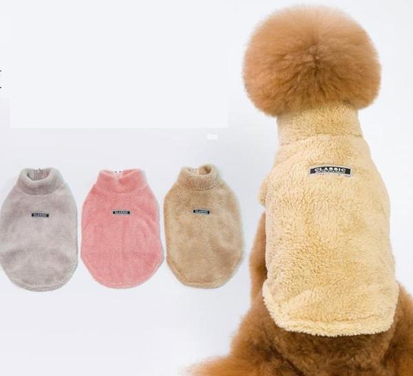 Autunno e inverno abbigliamento per animali nuovi cross border per colletto addensante extra spesso, maglione per cani di colore puro, cappotto per cani, due cappotti.