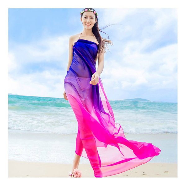 Scarves Beach Pareo Summer Women Two Tone Chiffon Shawls Scarf High Fashion 2017 Swimwear Bikini Cover Up Hawaiian Sarong Dress