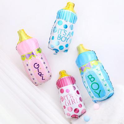 Nuevo bebé niño niña punto botella de leche baby shower helio aluminio volando globos globos feliz cumpleaños decoración globo