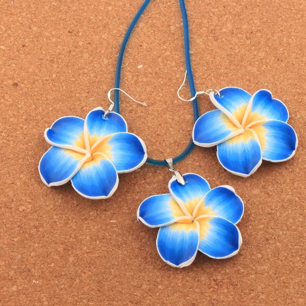 7sets/lot Plumeria Flower 925 Silver Earrings Pendant Necklace Set Colorful Handmade Clay Lily Polymer Clay Flowers 40mm Pendant NE3105