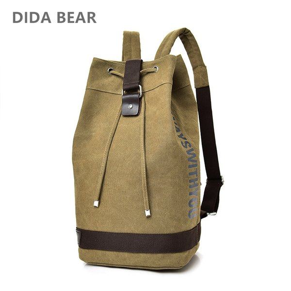 DIDA BEAR New Large capacity Man travel bag mountaineering backpack Men canvas bucket shoulder bags Male Canvas BackpacBlack
