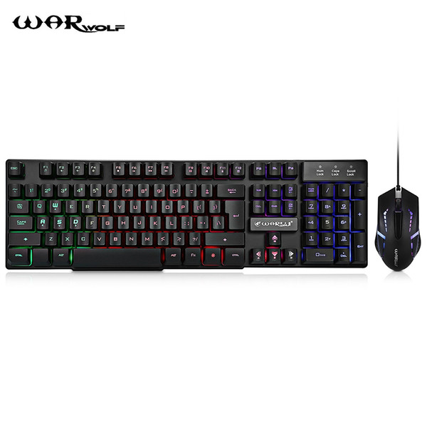 Warwolf Wired Membrane Keyboard Mouse Suit Retroilluminazione a LED 104 Keys 1000 DPI Forniture per ufficio Tastiera Gaming Keyboard e Razer Deathadder