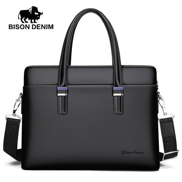 BISON DENIM Echtes Leder Männer Tasche Business 14