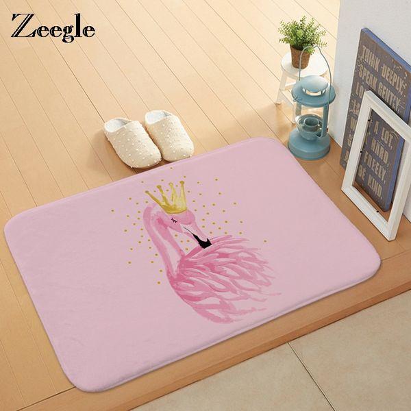 Zeegle Floor Doormat for Entrance Flamingo Printed Rug Kitchen Rectangle Flannel Bathroom Bath Mats Home Decor