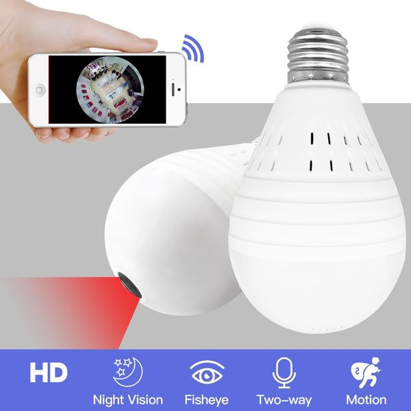 OLOEY Bulb Lamp Wireless IP Camera Wifi 960P Panoramic FishEye Home Security CCTV Camera 360 Degree Night Vision Support 128GB
