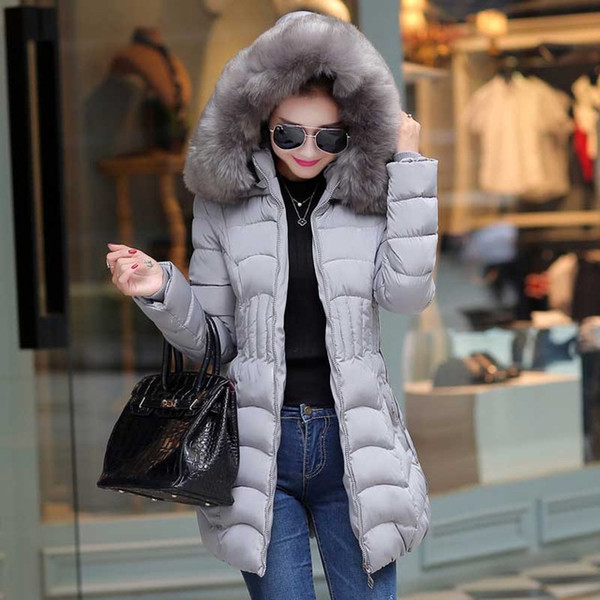 Sale 4XL Fur Hooded Female Winter Down Jacket Cotton Slim Overcoat Elegant Casual Long Sleeve Women Coat Parka Big Plus Size