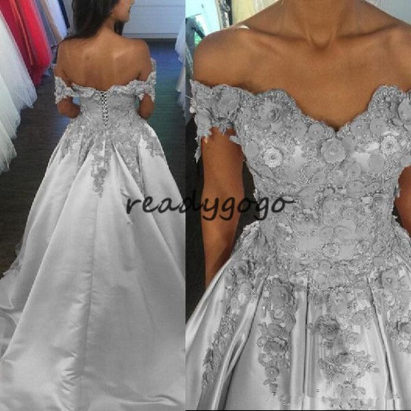 Silver Prom Dresses Long Off the Shoulder Corset Open Back Lace Appliqued Satin Evening Party Gowns with 3D Floral Appliques and Beads