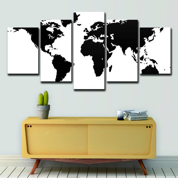 Leinwand Bilder Home Decor 5 Stücke Schwarz Und Weiß Weltkarte Vintage Gemälde HD Drucke Poster Wohnzimmer Wandkunst