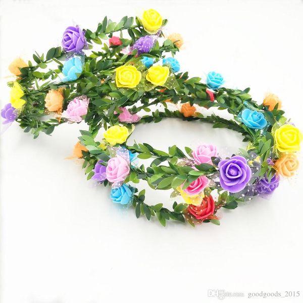 Flower Headband Bohemian Floral Crown Wedding Garland Fronte HeadBand Beach Wreath Mulitcolor Wedding Sposa corona c384