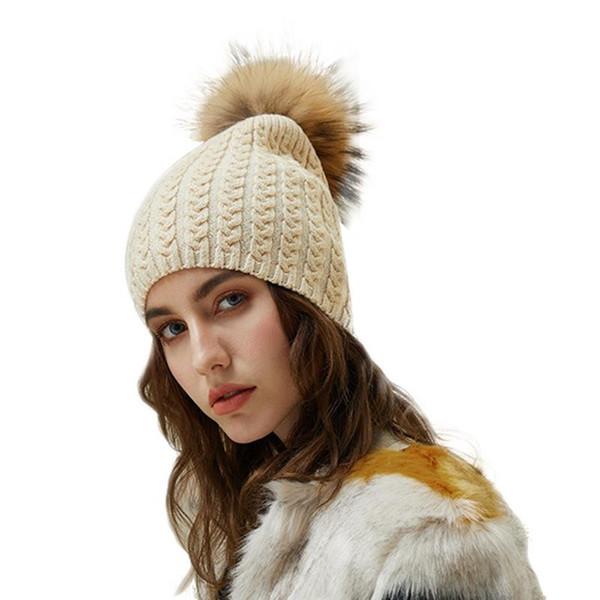 Compre MISS M Moda De Invierno Cálido Sombrero De Punto Mujer Casual ...