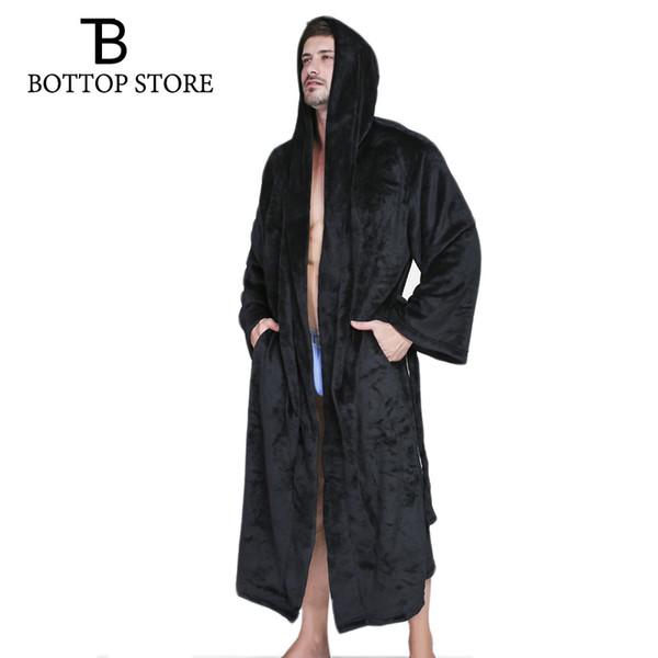Inverno Quente Homens Flanela Com Capuz Roupão de Banho Roupão de Banho Homem Robe Mens Manto Nightwear Tamanho Grande Masculino Vestido Sleepwear 3XL