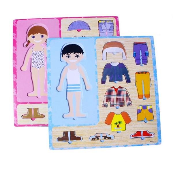 Изменение одевания Летнее зимнее платье МАЛЬЧИК и девочка Переключатель Одежда Совет детские игрушки головоломки Jigsaw Brain Factory Cost Оптовые 2 комплекта или более