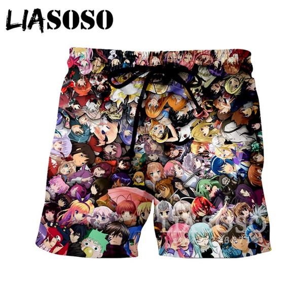 LIASOSO Verão Novas Mulheres Dos Homens Shorts 3D Impressão Anime Coleção Praia Calções de Fitness Bonito Engraçado Casual Solto Hip-Hop ShortsA098-49