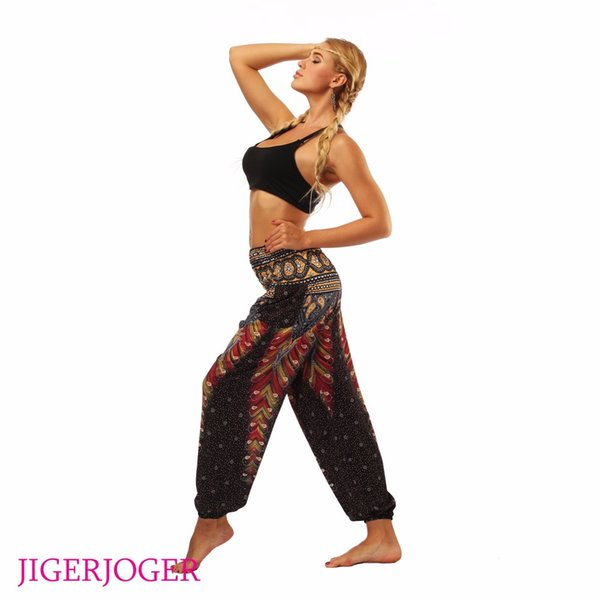 JIGERJOGER Black Feather Straight Loose leggings lounge pant Bloomers Indian Thailand style High elastic waistband pocket pants