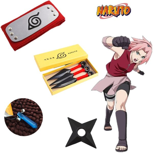 Japan Anime Naruto Hokage Sakura Haruno Halloween Cosplay Accessories Prop Headband Necklace Plastic Props Toys Boxed