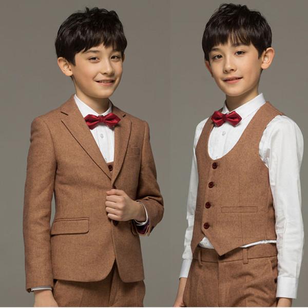 파란색 어린이 신사 복장 어린이 꽃 소녀 드레스 소년 졸업식 공식적인 드레스 소년 정장 3 피스 양복 (코트 + 바지
