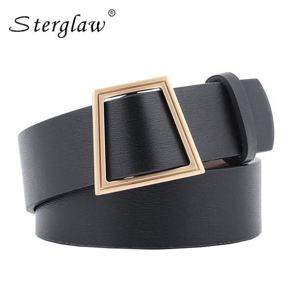 Hot Sale Leather Belts for women jeans pin buckle gold black luxury punk wide belt strap waistband dress wear for women N142