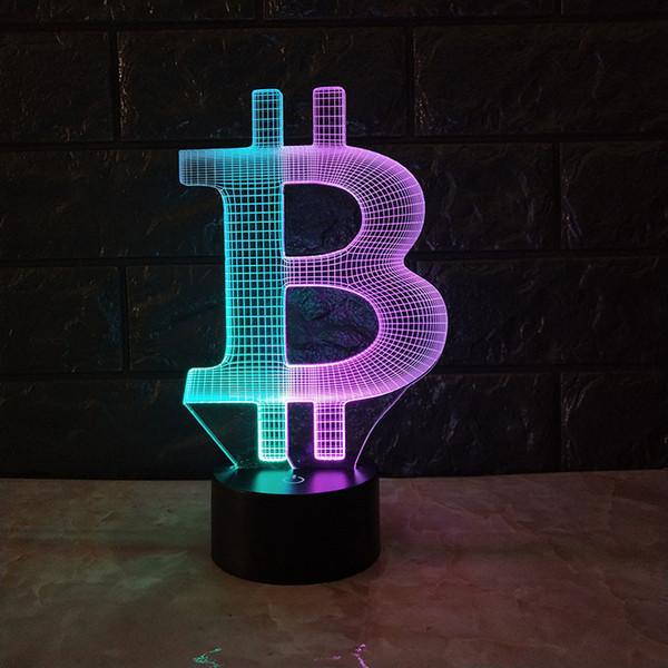 Bitcoin Dual Color 3D Lampe 3D Optial LED Lampe Nachtlampe USB Powered 7 RGB Licht DC 5V Wholesale Freies Verschiffen