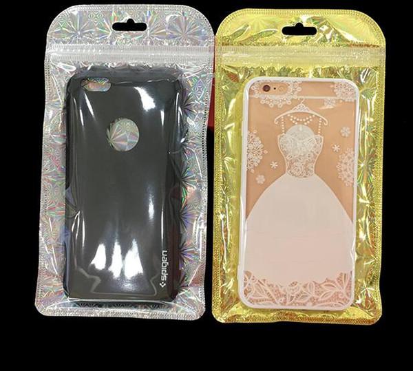 Out taille 11 * 21cm Effacer Zipper paquet de détail Sac d'emballage pour téléphone portable Accessoires chargeur Housse Sac d'emballage d'or