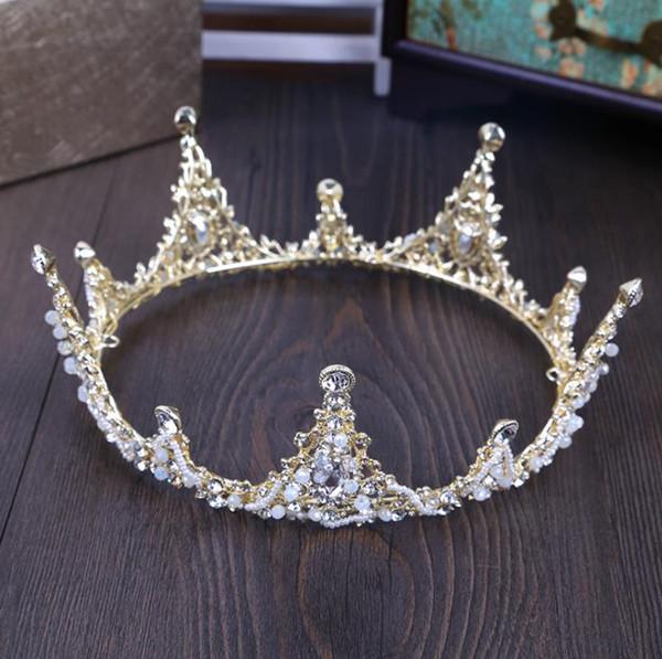 Couronne des mariées du nouveau baroque 2018, couvre-chef, atmosphère de mariage, couronne en or ronde, beauté de la princesse fée.