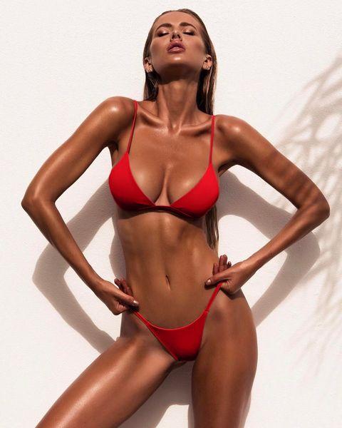 Bikini sexy pour les femmes 9color maillots de bain Split Pure Color Bikini rouge deux pièces maillot de bain en gros