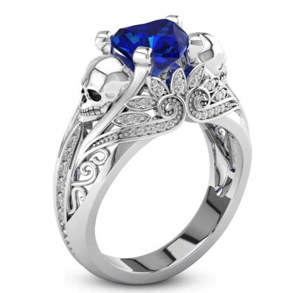 Sz6-10 Blue / White Couple Ring Creative Punk Style Skull Ring 925 Sterling Silver Sapphire Heart Ring for Party Cocktail