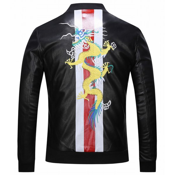 Uomini Giacca Di Pelle Dragon Embroidery PO Leather Jacket Men 2018 F/W Trim Fit Crest Patch