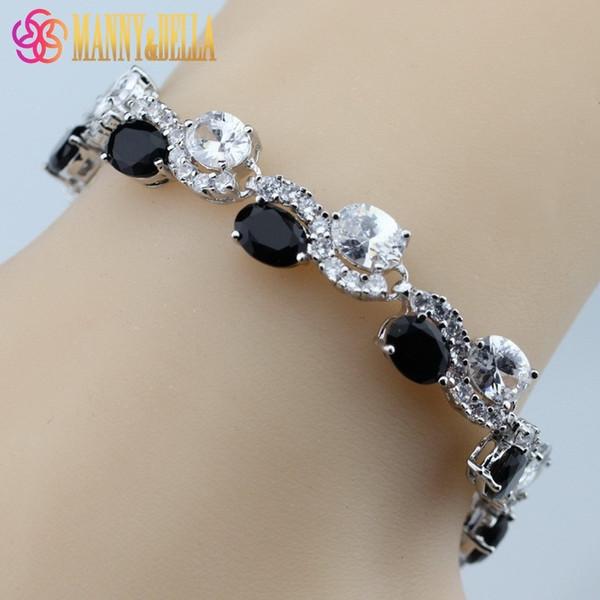 925 Sterling Silver Magic White Black Zircon Bracelet Health Fashion Jewelry For Women Free Jewelry Box SL95 C18111601