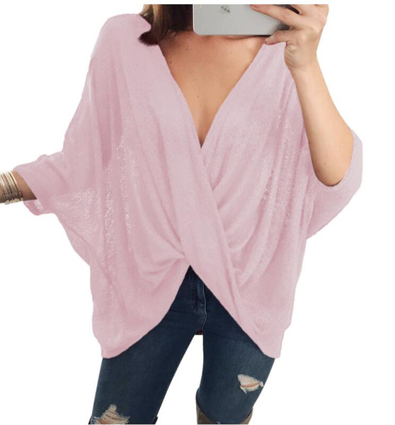 Женская футболка 2018 весна новая мода Женская одежда повседневная футболка сплошной цвет крест раза V-образным вырезом свободные Bat рукавом короткие топы женщины Peasan